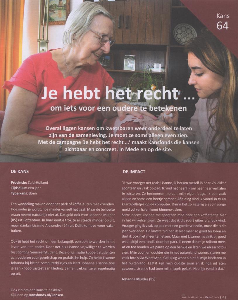 20190701_Reportage Kwartaalblad Kansfonds_Stichting Senior&Student